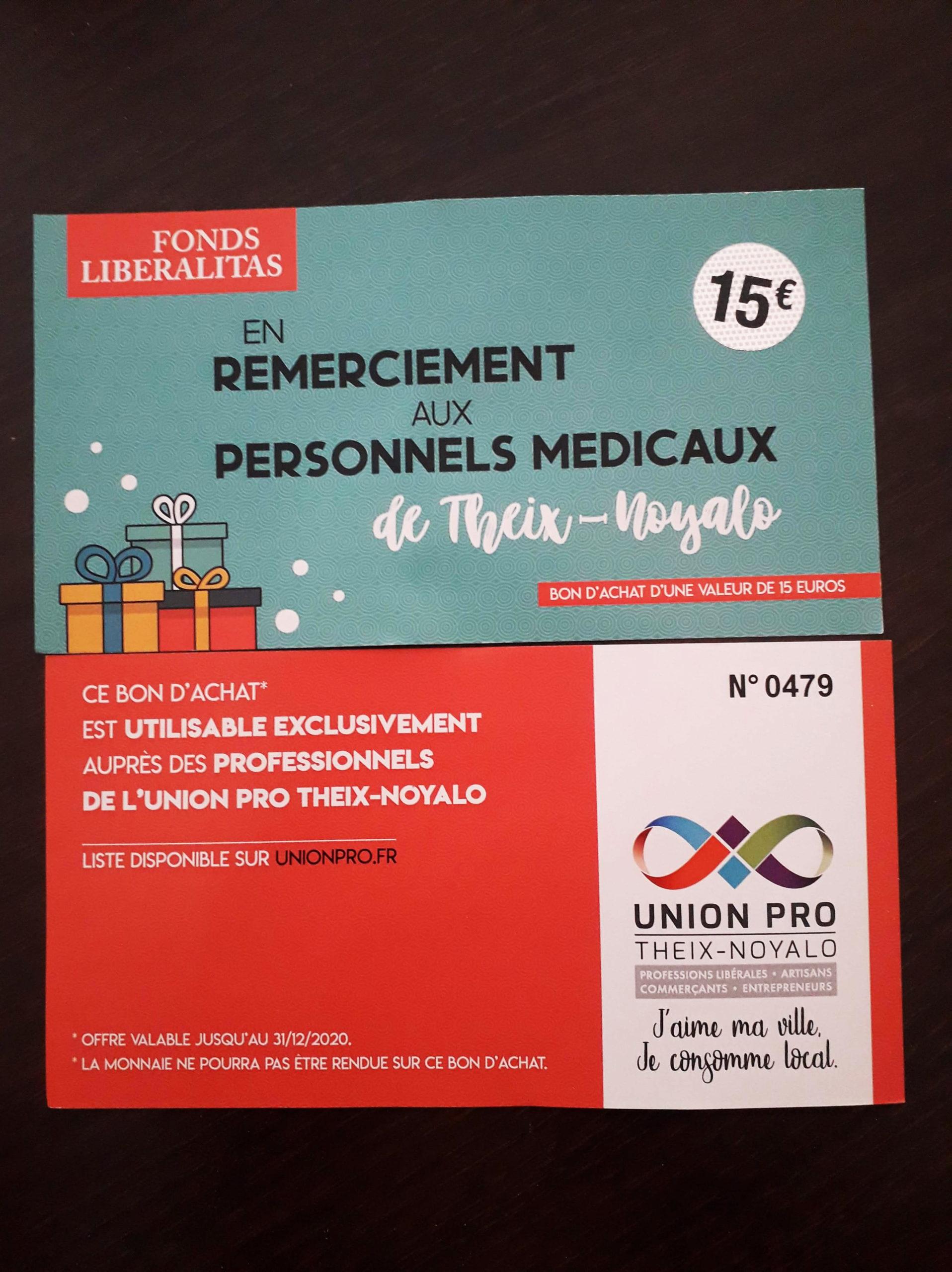 Bons d'achat Liberalitas – Remerciements aux personnels médicaux